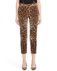 Dolce & Gabbana | Brown Leopard Print Ankle Pants | Lyst