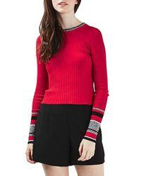 TOPSHOP - Red Stripe Cuff Crop Top - Lyst