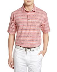 Bobby Jones | Blue Liquid Cotton Stripe Jersey Golf Polo for Men | Lyst