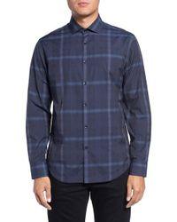 Good Man Brand Blue Bond Plaid Trim Fit Sport Shirt for men