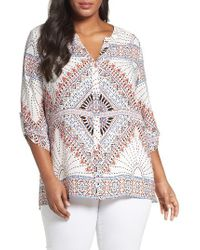 Foxcroft | Multicolor Mosaic Print Roll Tab Blouse | Lyst