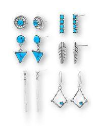 Steve Madden | Metallic Set Of 6 Earrings | Lyst