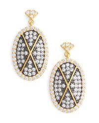 Freida Rothman Metallic Contemporary Deco Pave Drop Earrings