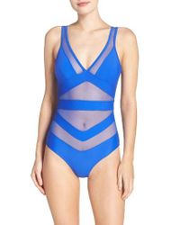 Ted Baker Blue Illiana Mesh Detail One-piece Swimsuit