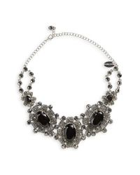 Natasha Couture | Black Crystal Statement Necklace | Lyst