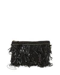 G-Lish Black Bead & Leather Fringe Crossbody Bag