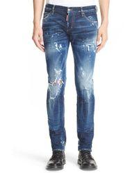DSquared²   Blue Destroyed Slim Fit Jeans for Men   Lyst