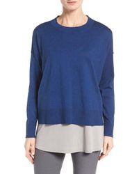Eileen Fisher | Blue Organic Cotton & Cashmere Sweater | Lyst