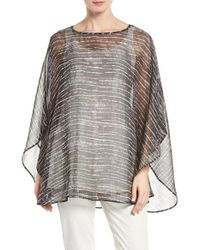 Eileen Fisher | Multicolor Streaky Plaid Crinkled Silk Poncho | Lyst