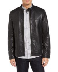 Ted Baker Black Orleans Trim Fit Leather Jacket for men