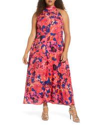 Tahari Pink Floral Halter Neck Maxi Dress