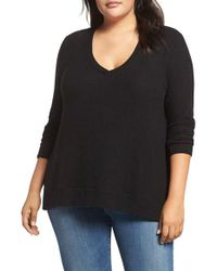 Three Dots | Black V-neck Sweater | Lyst
