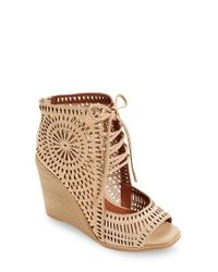 Jeffrey Campbell   Brown Rayos Perforated Wedge Sandal   Lyst