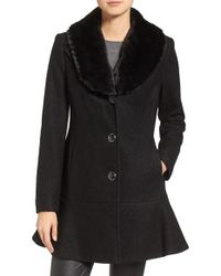 Kensie | Black Removable Faux Fur Collar Skirted Coat | Lyst