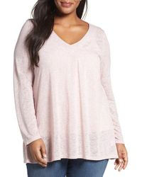 Bobeau | Pink Pleat Front Slub Knit Sweater | Lyst