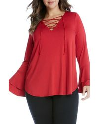 Karen Kane | Red Lace-up Flare Sleeve Top | Lyst