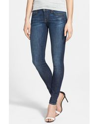 7 For All Mankind   Blue 7 For All Mankind 'the Skinny' Mid Rise Skinny Jeans   Lyst