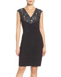 Adrianna Papell Black Pleated Sheath Dress