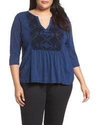 Lucky Brand | Blue Embroidered Tee | Lyst