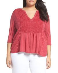Lucky Brand | Pink Embroidered Tee (plus Size) | Lyst
