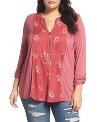 Lucky Brand | Red Print Woven Front Knit Henley Top | Lyst