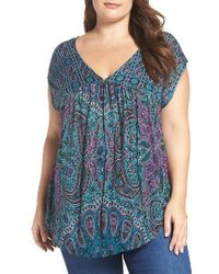 Lucky Brand | Blue Paisley Babydoll Top | Lyst