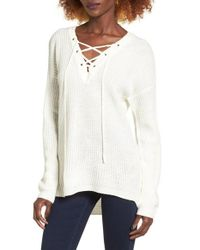 Love By Design - White Lace-up Sweater - Lyst