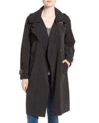 French Connection   Black Drape Front Trench Coat   Lyst