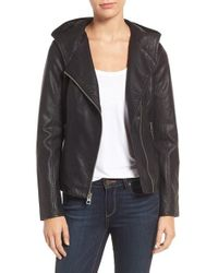 Guess | Black Faux Leather Jacket | Lyst