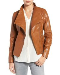 Guess | Brown Asymmetrical Faux Leather Jacket | Lyst