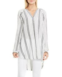 Two By Vince Camuto | White Stripe Cotton Gauze Tunic | Lyst