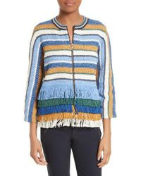 Tory Burch | Blue Kinston Stripe Tweed Jacket | Lyst
