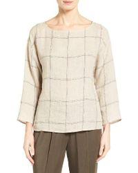 Eileen Fisher | Natural Windowpane Plaid Organic Linen Top | Lyst