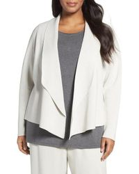 Eileen Fisher | White Silk & Organic Cotton Sweater Jacket | Lyst