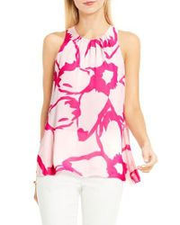 Vince Camuto   Pink Floral Print Blouse   Lyst