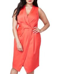 RACHEL Rachel Roy   Pink Surplice Sheath Dress   Lyst