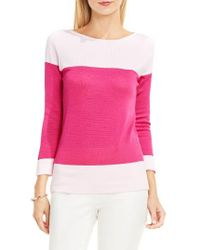 Vince Camuto | Pink Colorblock Cotton Pullover | Lyst