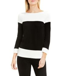 Vince Camuto | Black Colorblock Cotton Pullover | Lyst