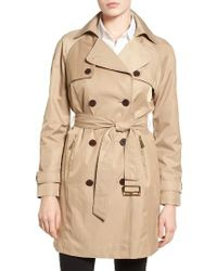 MICHAEL Michael Kors | Natural Belted Double Breasted Trench Coat | Lyst