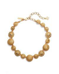 Oscar de la Renta Metallic Textured Disc Necklace