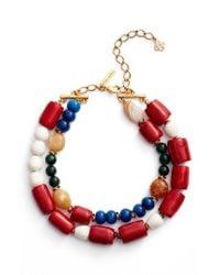 Oscar de la Renta | Multicolor Double Row Collar Necklace | Lyst