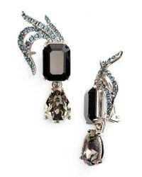 Oscar de la Renta | Black Pave Swarovski Crystal Leaf Clip Earrings | Lyst