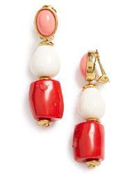 Oscar de la Renta - Red Semiprecious Stone Bead Clip Earrings - Lyst