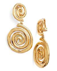 Oscar de la Renta | Metallic Swirl Clip Earrings | Lyst