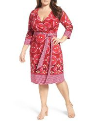 Adrianna Papell | Pink Faux Wrap Jersey Dress | Lyst