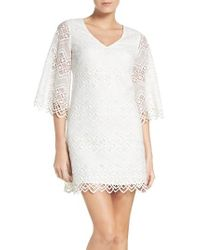 Laundry by Shelli Segal | White Bell Sleeve Lace Shift Dress | Lyst