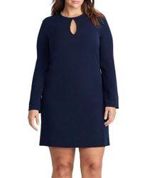 Lauren by Ralph Lauren | Blue Keyhole Shift Dress | Lyst