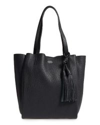 Vince Camuto   Black Small Taja Leather Tote With Tassel Charm   Lyst