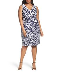 Adrianna Papell - Blue Print Sheath Dress - Lyst