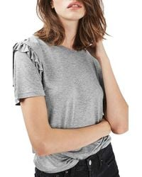 TOPSHOP | Gray Frill Sleeve Tee | Lyst